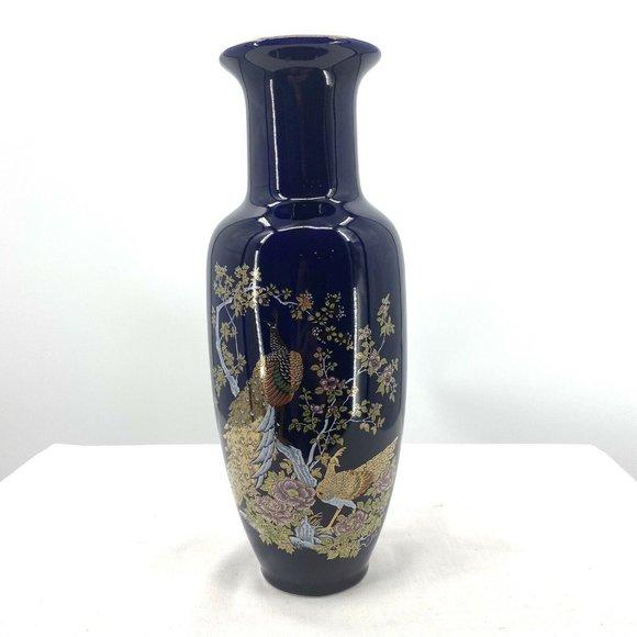 VTG Porcelain Japanese Asian Blue Peacock Vase
